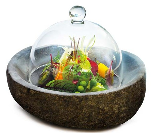 Kubu Restaurant Menu3-The smoke garden, artichoke, fennel, Taggiasca olive, mozzarella cream-2