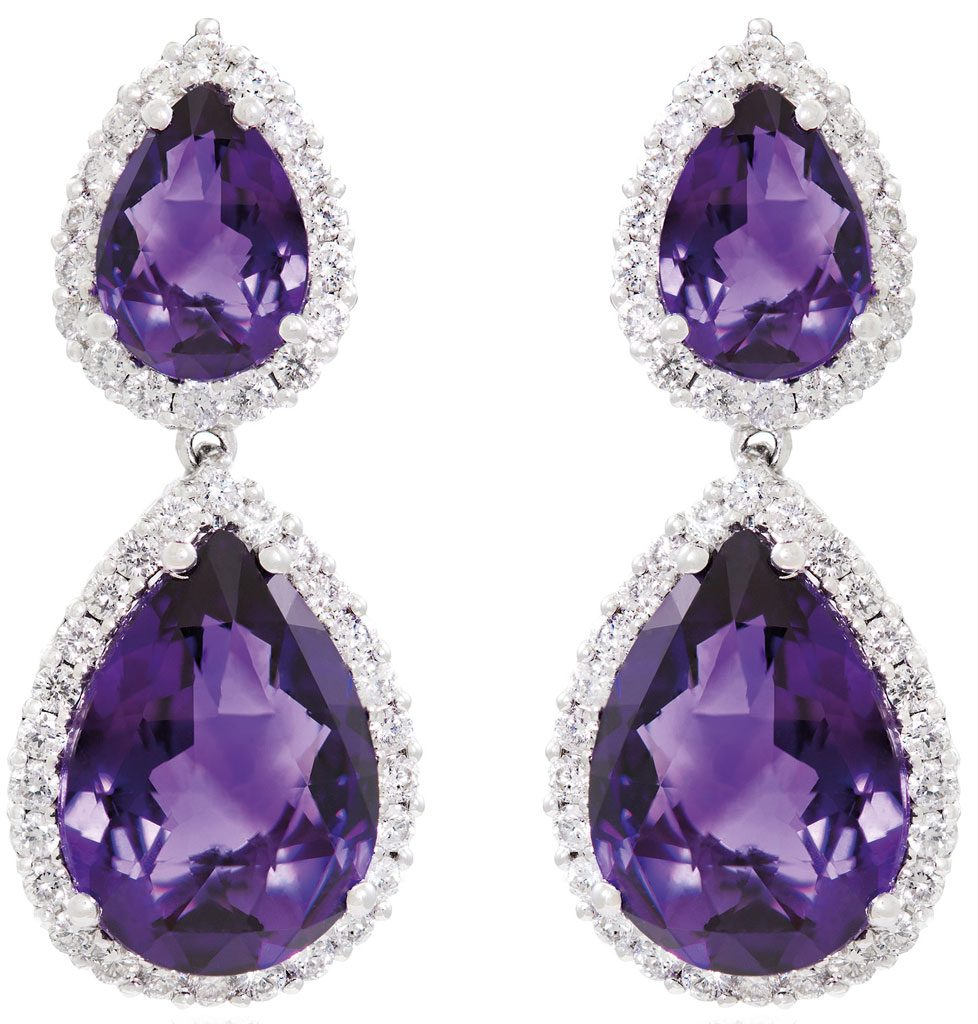 Amethyst-and-diamond-earrings-set-in-18-carat-white-gold--