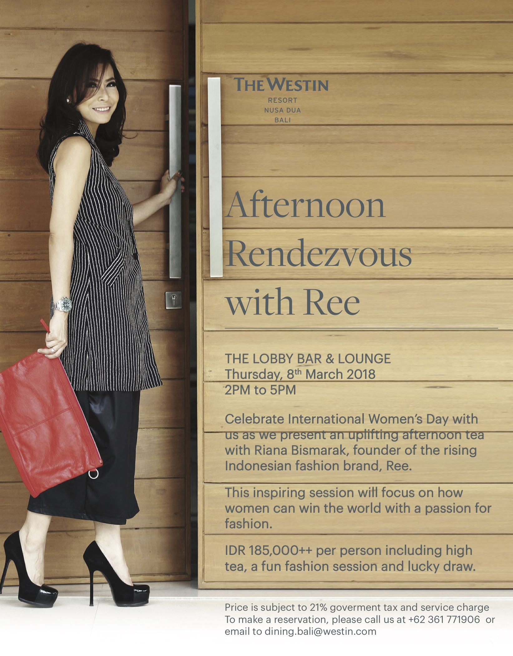 Afternoon Rendezvous with Ree at The Westin Resort Nusa Dua, Bali