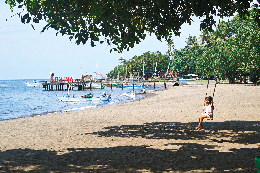 The quiet beach of lavina is a great escape from the bustling,
