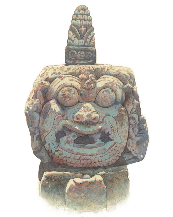 This statue fragment is from the village temple, Pura Desa Batuan, South Central Bali. Illustration by Bruce Granquist