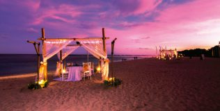 Private beach dining for that romantic moment at Ayodya's Mengiat Beach