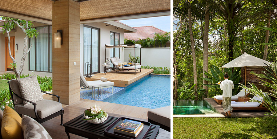 The Mulia & Mulia Villas, Bali (left, source themulia.com), COMO Uma Ubud (right, source comohotels.com)