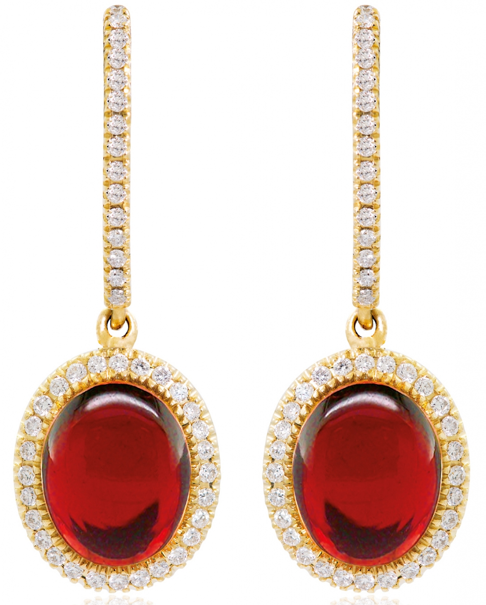 Shopping - Jemme - GARNET CABOCHON EARRINGS