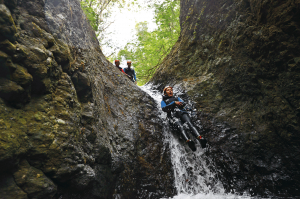 Sliding at Canyoning
