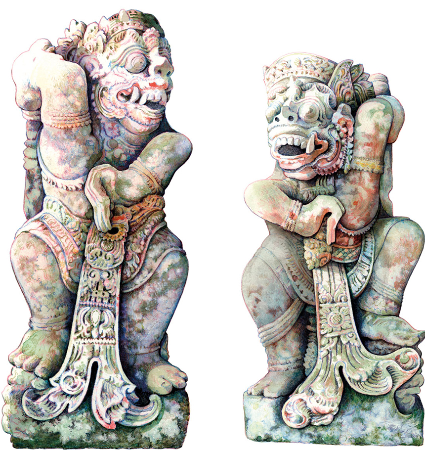 This pair of statues is from the Pura Dalem, village of Ayunan, close to Mengwi, South Central Bali. Illustration by Bruce Granquist