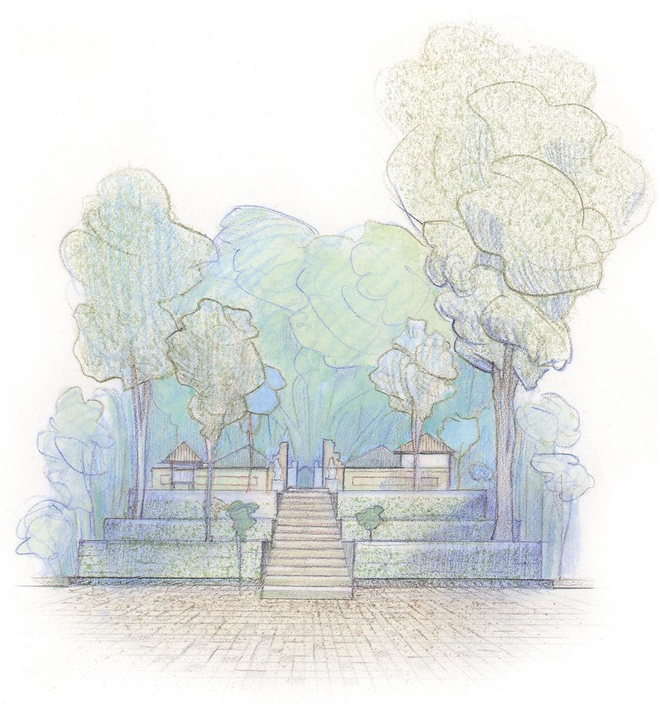 2 stairway to middle courtyard, Jero