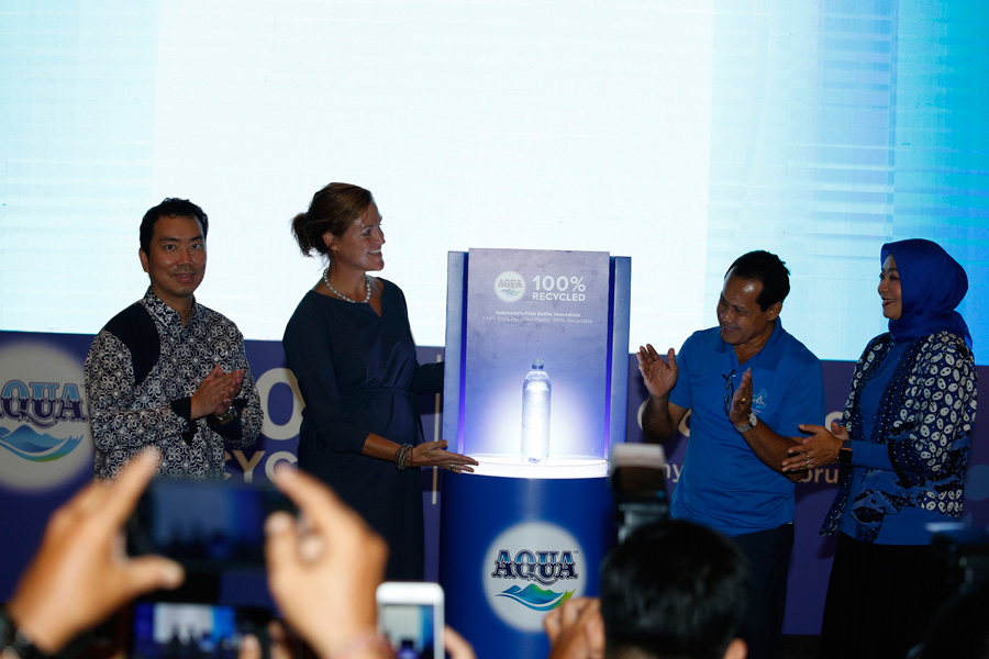 Water Company AQUA Introduces 100% Recycled Plastic Bottles to Bali