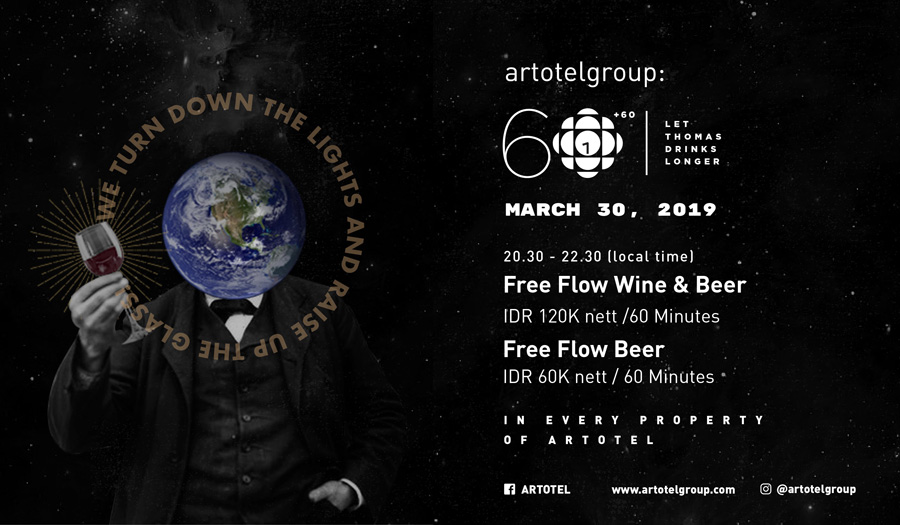 Celebrate Earth Hour with Free Flow Beer and Wine at ARTOTEL